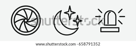 set of 3 outline light icons