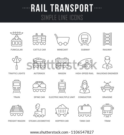 Set of outline signs and symbols of rail transport with names. Collection vector thin line icons and infographics elements. Simple linear pictogram pack for web graphics and apps.