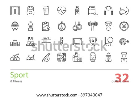 Set of outline Sport and Fitness icons.