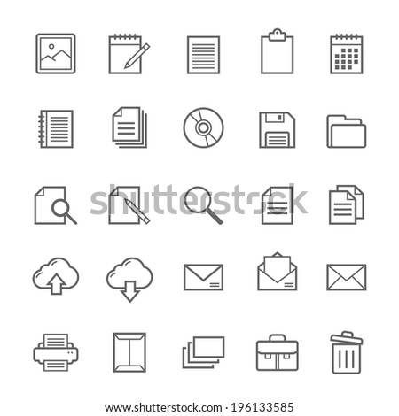 Set of Outline stroke Document icons Vector illustration
