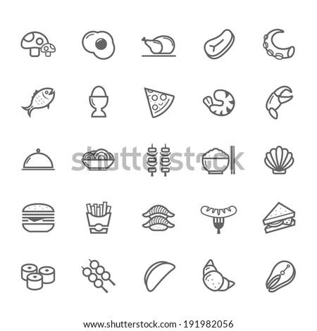 Set of Outline stroke Food icon Vector illustration