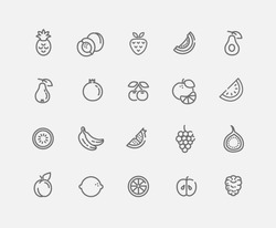 Set of Outline stroke Fruit icon Vector illustration
