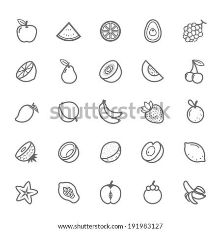 set of outline stroke fruit