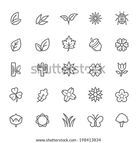 Set of Outline Stroke Natural Icons Vector Illustration