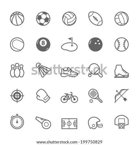 Set of Outline stroke Sport icons Vector illustration