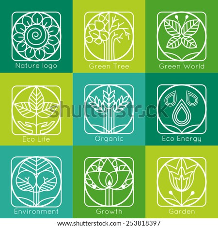 Set of outline tree monograms and logos. Abstract organic, ecology and bio design elements and badges. Vector illustration.