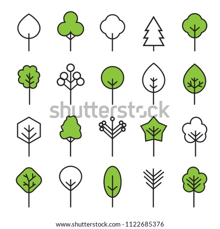 Set of outline Trees icons. Vector Illustration. Plants and garden.