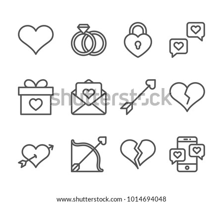 Set of outline Valentines day icons. Line love pictogram pack. Amour symbol collection. Editable stroke. Vector illustration.