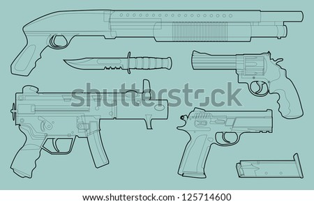 Set of outlined various weapons - illustration