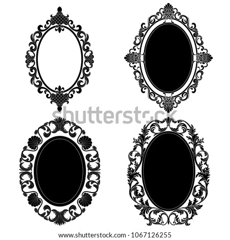 Set of oval frames. Oval frames vector.Oval border. Oval vintage border frame engraving with retro ornament pattern in antique baroque style decorative design. Vector.