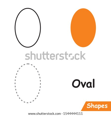 Set of Ovals ready to use for education such as coloring pages, trace shapes. learn Oval shape.