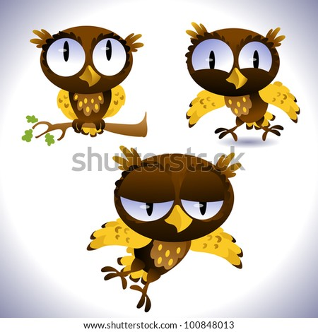 Set of owls - stock vector