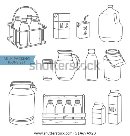 Set of packaging for milk, hand drawn icons. Black and white elements, big collection. Illustration with sketch objects. Decorative backdrop, good for printing. Design background, dairy products