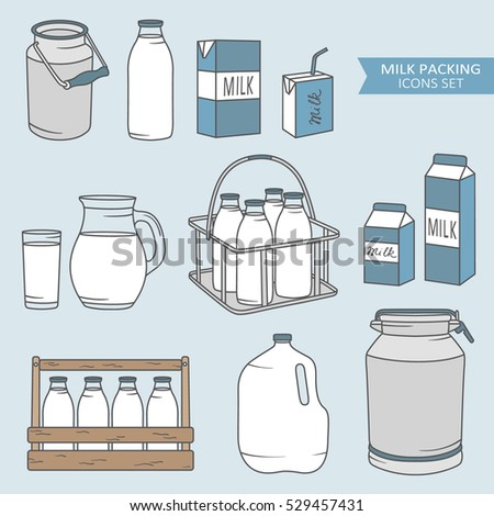 Set of packaging for milk, hand drawn icons. Colorful elements, big collection. Illustration with sketch objects. Decorative backdrop, good for printing. Design background, dairy products