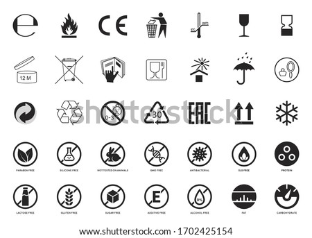 Set of Packaging Symbols. Handbook general symbols. Gluten, Lactose, GMO, Paraben, Silicone , SLS, Sugar free, Food additive, Not Tested on Animals, Antibacterial, Protein, Fat Carbohydrate icons.