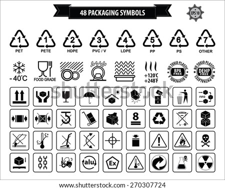 Set Of Packaging Symbols (this side up, handle with care, fragile, keep dry, keep away from direct sunlight, do not drop, do not litter, use only the trolley, use fifo system, max carton, recyclable). - Shutterstock ID 270307724