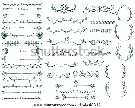 Set of page dividers. Hand drawn sketched. Vector Illustration.
