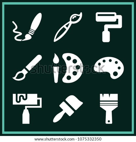 Set of 9 paint filled icons such as paint palette, roller, paintbrush, paintbrush design tool interface symbol