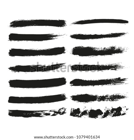Set of paintbrush grunge strokes. Vector elements for web and typographic design.  #1079401634