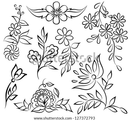 set of painted flowers, black and white sketch. Many similarities to the author's profile.