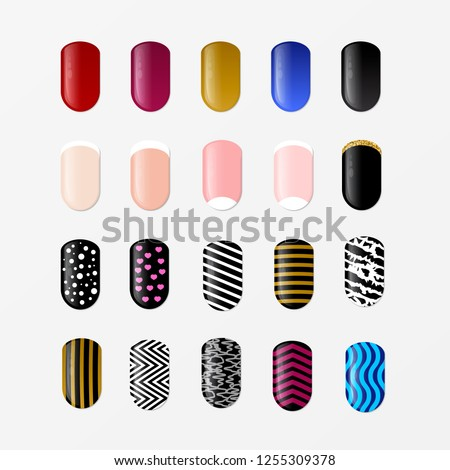 Set of 25 painted nail tips isolated on white. Nail art design concept. Different ideas for DIY manicure and pedicure. Vector illustration. Easy to edit template for nail services, beauty salons fashi