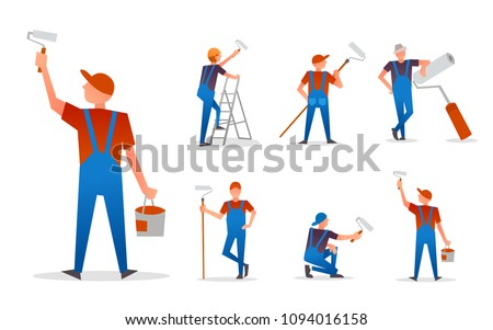 Set of Painter Craftsman With Paint Roller.  Flat Icon Vector Illustration Isolated on White Background.