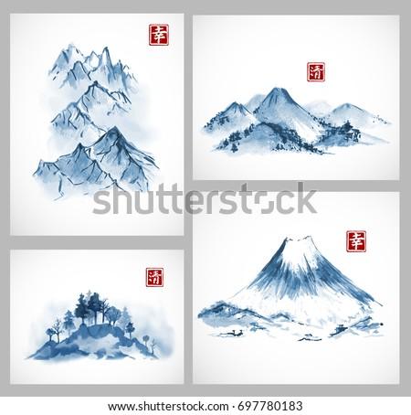 set of paintings of blue