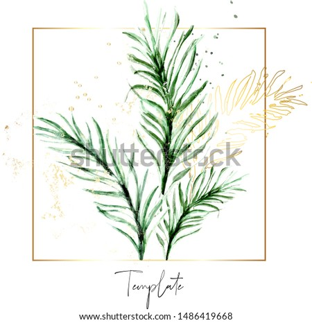 Set of palm floral elements. Tropical Flower and green leaves with golg foil decoration. Wedding concep. Floral poster, invite. Vector arrangements for greeting card or invitation design.