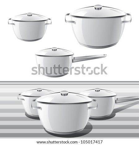 Set of Pan. Icons of stainless casserole. - stock vector
