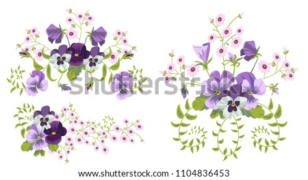Set of pansies bouquets for your design. Pansy flowers. Vector illustration isolated on a white background