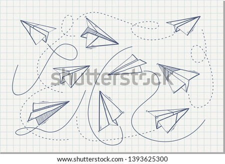Set of Paper airplanes , vector illustration
