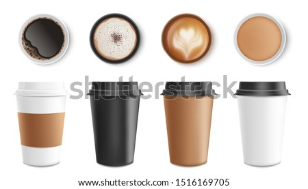 Set of paper and cardboard cups and coffee mugs with drinks, top view. Isolated realistic vector illustration with hot coffee.