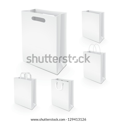 Set of paper bags. Illustration set of paper bags for branding the design layout, or use in advertising.