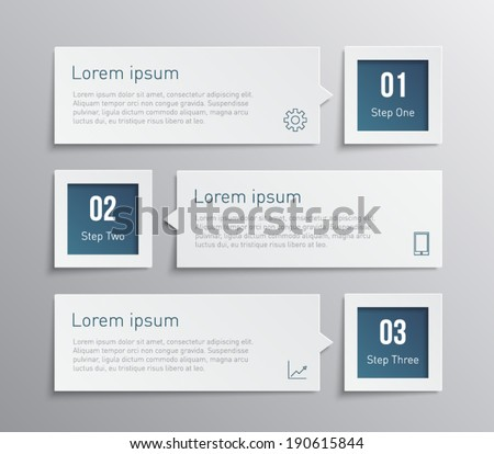Set of paper banners / tags for business design, infographics, step presentation, progress, number options, websites or workflow layout. Clean and modern style