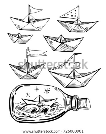 set of paper boats paper boat