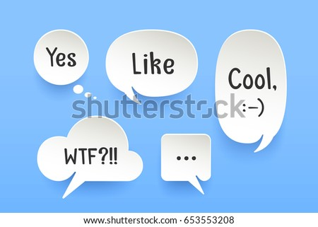 Set of paper bubble cloud talk with shadow. White paper isolated cloud talk silhouette with text Like, Cool, Yes, smile symbol. Design elements for speech, message, social network. Vector Illustration