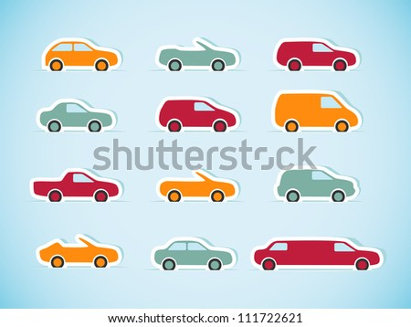 Set of paper cars. Vector illustration.