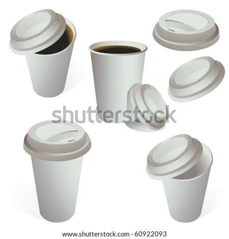 Set of paper coffe cups isolated on white vector