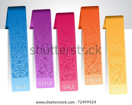 set of paper colorful ornamental tags