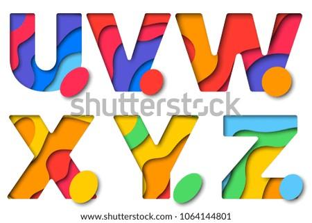 set of paper cut multicolored