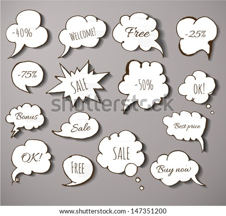 Set of paper-cut speech and thought bubbles with realistic shadows for your design. Sketches of speech bubbles. Doodle vector illustration.