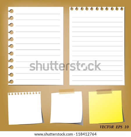set of paper designs (paper sheets and note paper)
