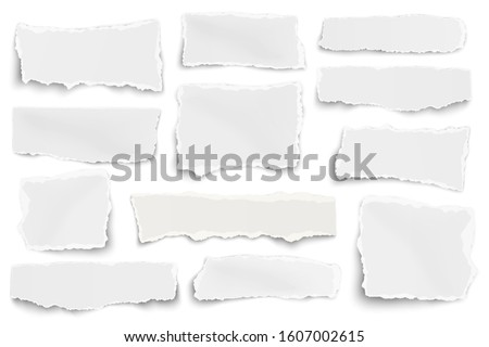 Set of paper different shapes scraps isolated on white background Foto stock ©