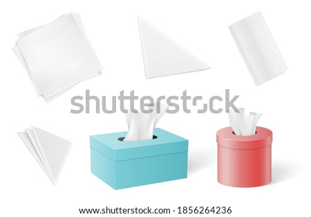 Set of paper napkins and tissues folded in different forms and inside of boxes. Realistic mock up templates isolated on white background with shadows. 3d vector illustration Stok fotoğraf ©