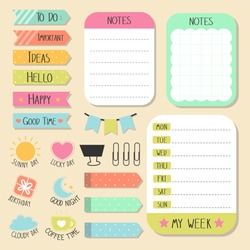 Set of paper notes wiht stickers and tags for decorate notes, diary.