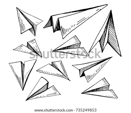 Set of paper planes. Hand drawn vector illustration