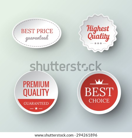 Set of paper Premium Quality and Guarantee Labels  in vintage style. Vector illustration