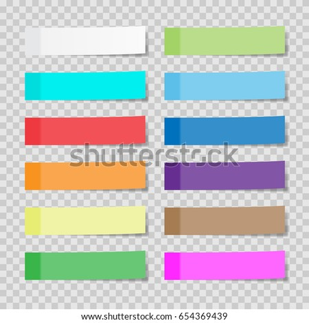 Set of paper sheets or sticky stickers isolated on a transparent background. Post notes. Vector  illustration