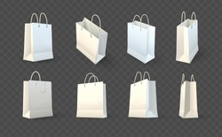 Set of paper shopping bags packaging for Shopping goods and products transportation shoppings from shop or grocery. Realistic template mockup vector illustration isolated dark transparent background