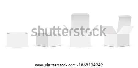 Set of Paper Square Packaging Boxes Mockups With Opened And Closed Lid, Isolated on White Background. Vector Illustration Stockfoto ©